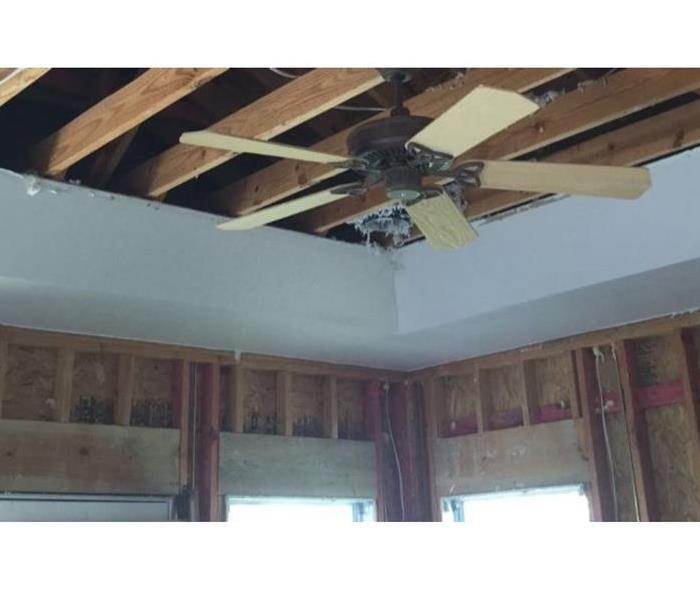 ripped out sheetrock in ceiling