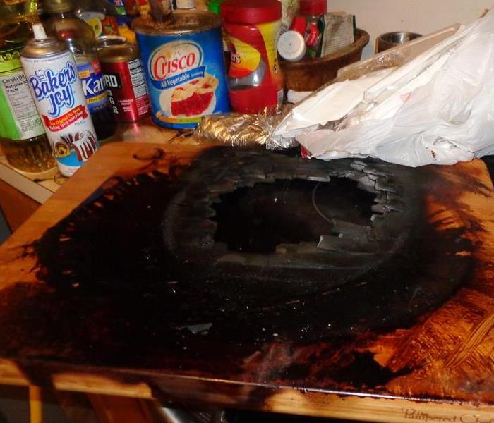 Cutting board caught on fire