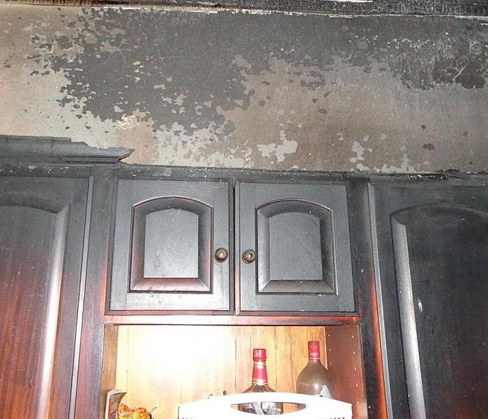 Fire damage above stove